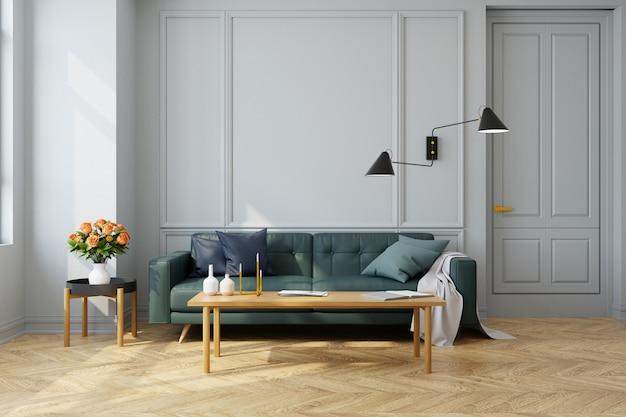 Intérieur vintage moderne du salon, canapé vert avec lampe murale sur parquet et mur blanc