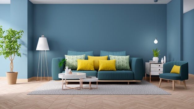 Intérieur vintage moderne du salon`` concept de décoration de maison blueprint, canapé vert avec table en marbre sur mur bleu et parquet, rendu 3d