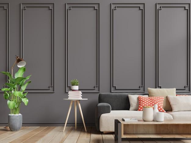 Intérieur vintage moderne du salon, intérieur pastel de style classique avec canapé moelleux et mur brun foncé.