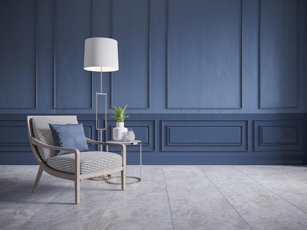 Intérieur vintage moderne de salon, fauteuil en bois et lampe blanche sur des carreaux de sol en béton et mur bleu foncé, rendu 3d
