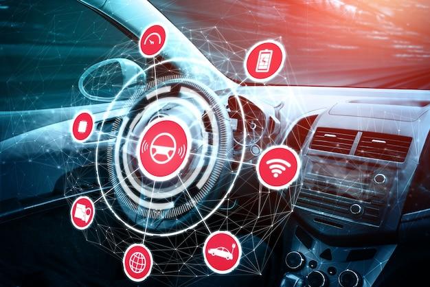Intérieur de voiture sans conducteur avec tableau de bord futuriste pour système de contrôle autonome