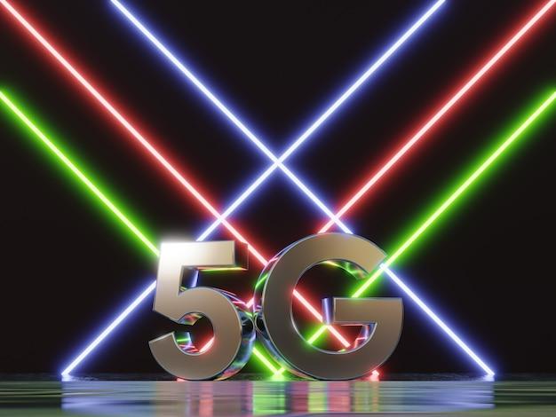 Internet de fond de technologie de réseau mobile 5g de la prochaine génération néon futuriste 3d