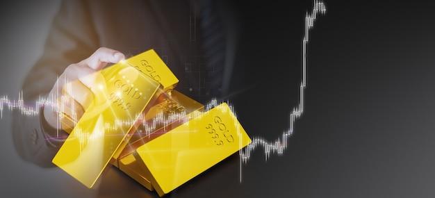 Investir dans les actions aurifères, concept de trading d'or, rendu d'illustration 3d