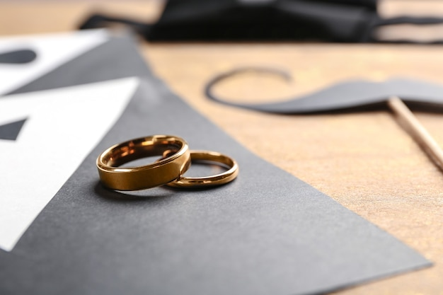 Invitations de carte de mariage gay, gros plan