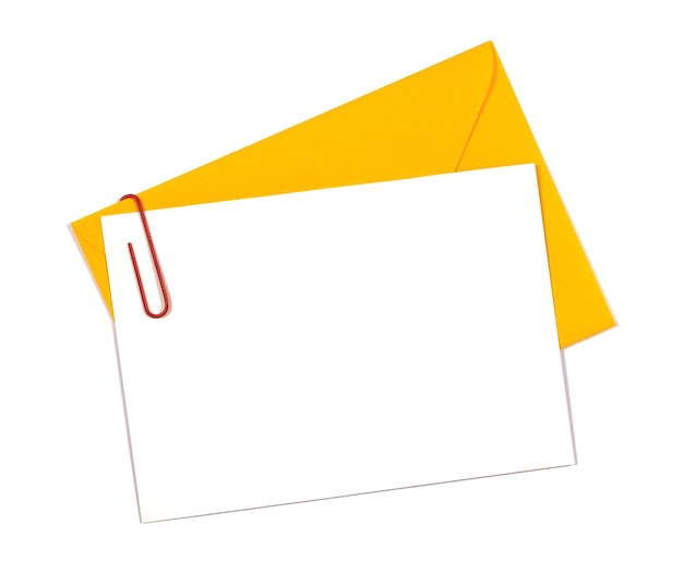 Inviter carte avec enveloppe jaune