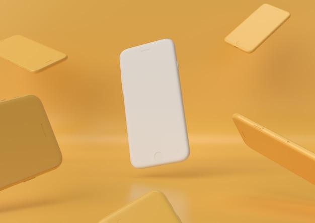 Iphone blanc design création papier espace de travail bureau minimal concept rendu 3d, illustration 3d.