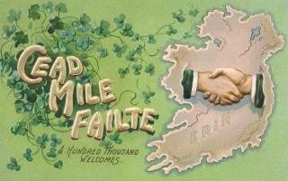 Irlande antique carte postale de bienvenue