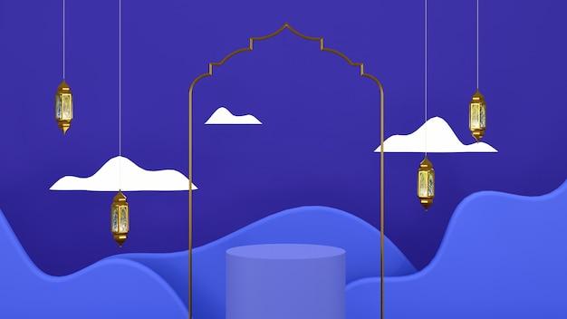 Islamique rendu 3d arabe eid mubarak musulman vacances thème produit affichage podium fond