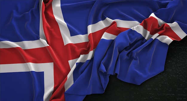 Islande drapeau irrégulier sur fond sombre rendu 3d