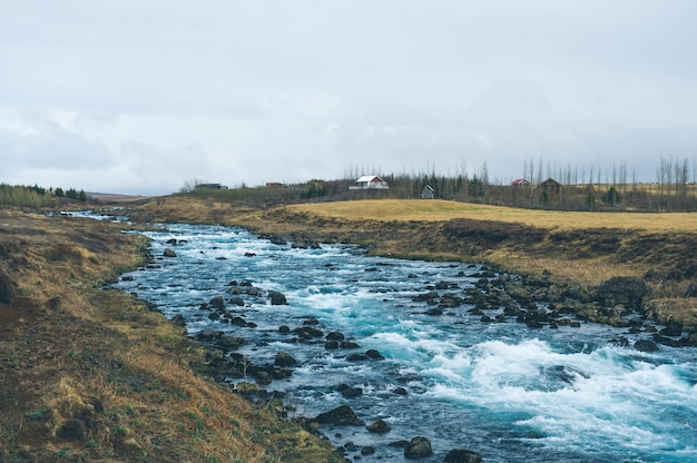 Islande nature paysage cascade rivière village