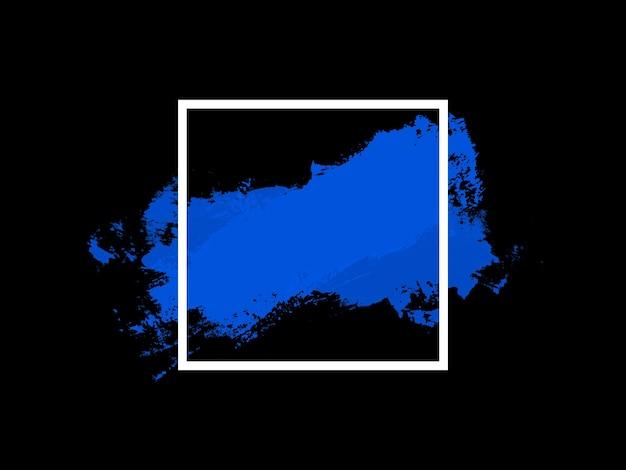 Isolation de la bannière sur fond noir. carré blanc avec touche bleue. photo de haute qualité