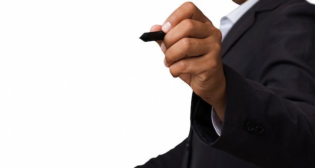 Isolé, gros plan, de, homme affaires, utilisation, stylo, isolé, blanc