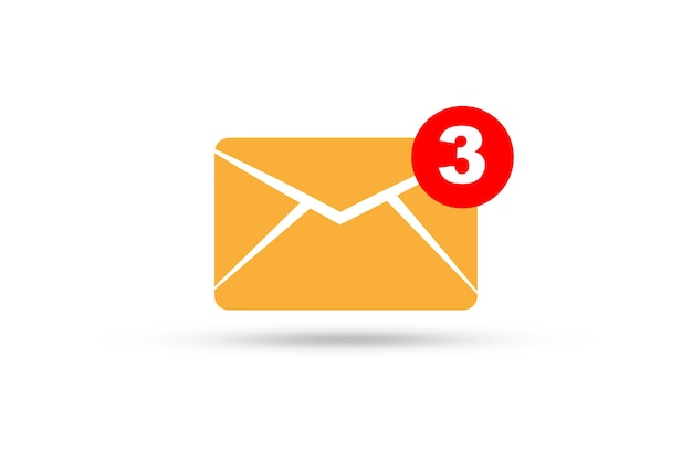 Isolé des newsletters jaunes et notification pour les e-mails d'entreprise sur fond blanc pour le concept de communication d'entreprise.