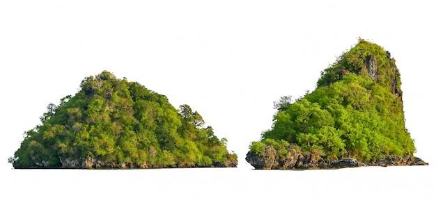 Isoler l'île au milieu du fond blanc de la mer verte séparée de l'arrière-plan