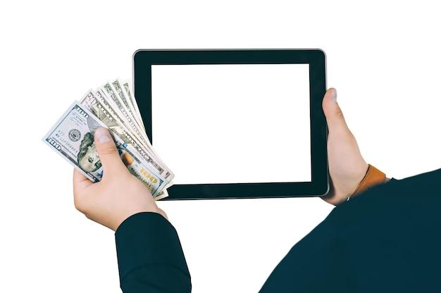 Isoler la tablette numérique entre les mains de l'homme