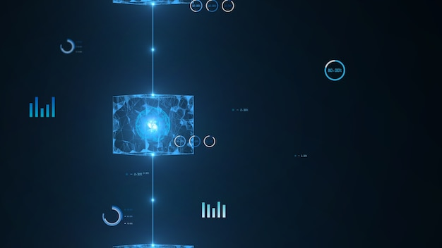 Isométrique numérique bloque la connexion big data code carré