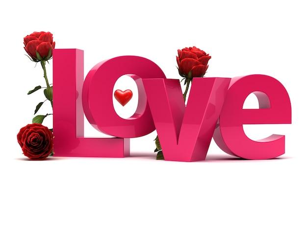 J'adore le texte 3d avec des roses. concept romantique