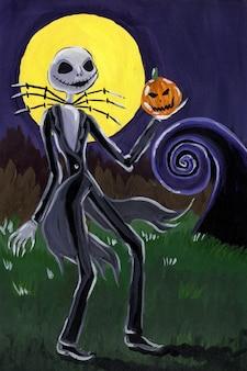 Jack en colère avec une citrouille à la main à la lumière de la pleine lune le cauchemar avant noël