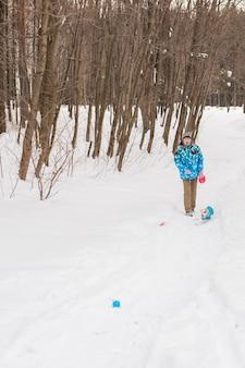 Jack russell terrier. chien jouant dans le parc d'hiver. concept pour animaux de compagnie.