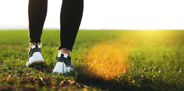 Jambes de jeune femme en cours d'exécution sur l'herbe au coucher du soleil. femme exerçant à l'extérieur