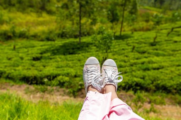 Jambes de touristes suspendues au train sur fond de champs verts