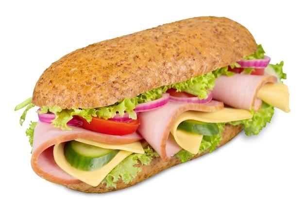 Jambon d'un pied et sandwich sous-marin suisse isolé sur blanc