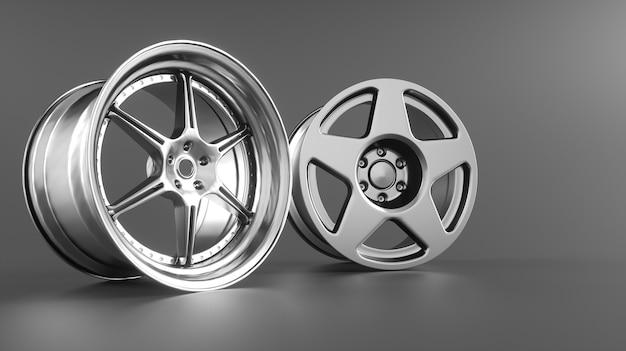 Jantes de roue de voiture isolées sur gris