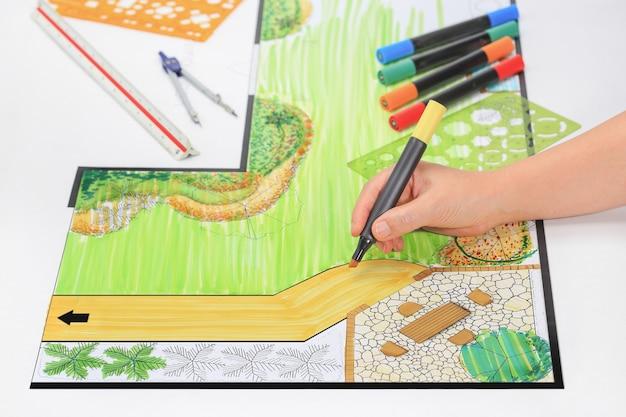 Jardin d'arrière-cour et plan de conception de pato.