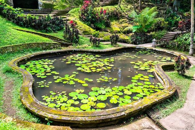 Jardin au temple d'éléphant de goa gajah à bali, indonésie