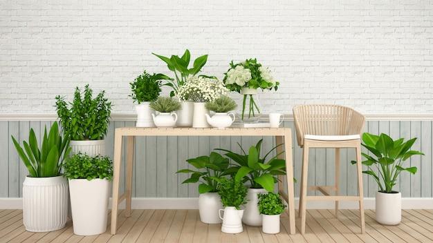 Jardin dans un café ou un magasin de fleurs - illustration 3d
