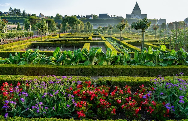 Jardin à la française coloré au coucher du soleil, avec une lumière mystérieuse