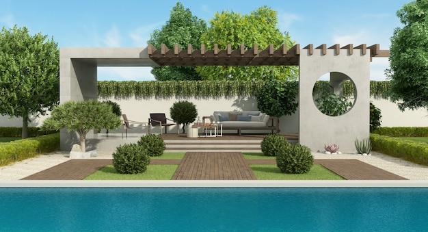 Jardin de luxe avec gazebo en béton et grande piscine