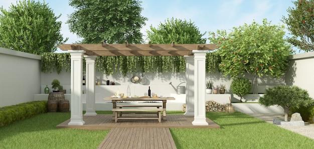 Jardin de luxe avec gazebo