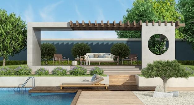 Jardin moderne avec gazebo en béton et piscine