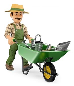 Jardinier 3d poussant une brouette avec des outils de jardinier