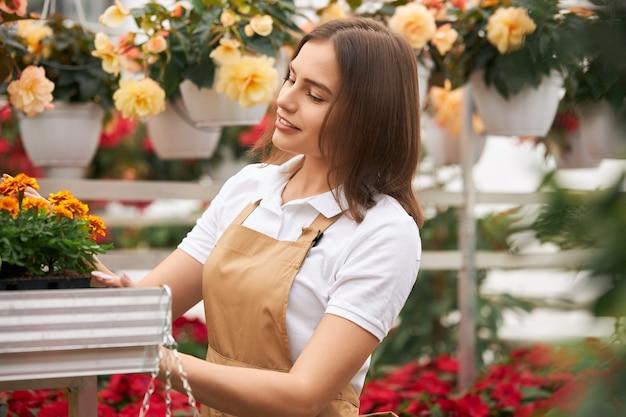 Jardinier femme de race blanche en tablier de fleurs agricoles