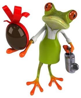 Jardinier de grenouille amusant - illustration 3d