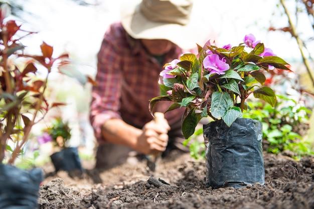 Jardinier homme latin à l'extérieur à la maison