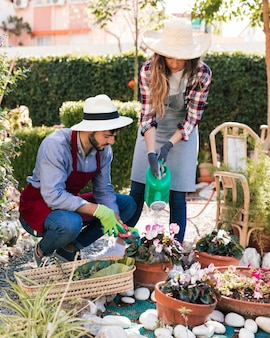 Jardinier masculin et féminin travaillant ensemble dans le jardin