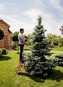 Jardinier professionnel élagage un arbre avec des ciseaux de jardin