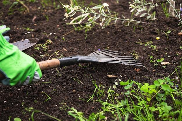 Jardinier s'occupant d'un parterre de fleurs. les mains du jardinier utilisent un râteau pour ameublir le sol pour planter des graines et des plantes. des gants.