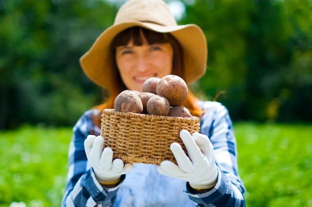 Jardinier transportant une caisse avec des légumes fraîchement récoltés dans le jardin