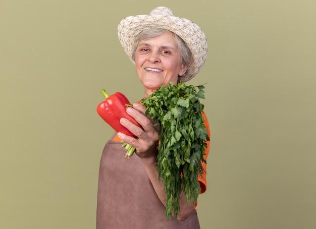 Jardinière âgée souriante portant un chapeau de jardinage tenant des poivrons rouges et un bouquet de coriandre isolé sur un mur vert olive avec espace pour copie