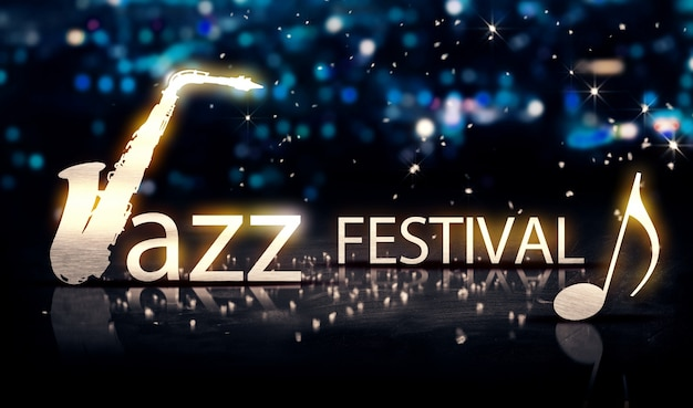Jazz festival saxophone argent ville bokeh star shine bleu 3d