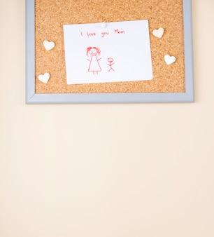 Je t'aime inscription maman avec dessin