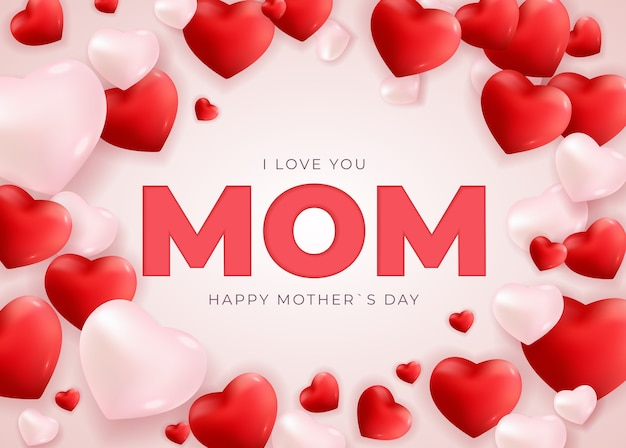 Je t'aime maman. fond de vacances carte bonne fête des mères avec des coeurs