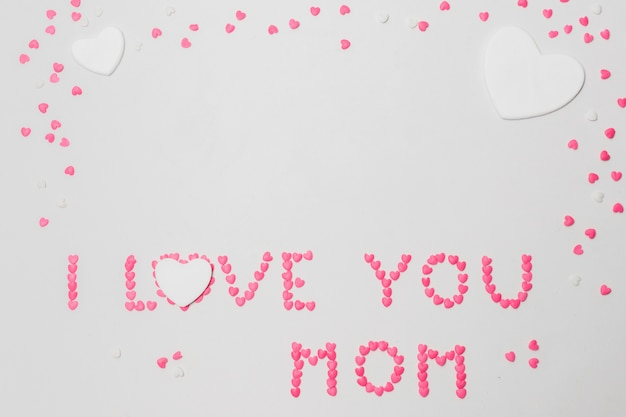 Je t'aime maman inscription de symboles de coeurs