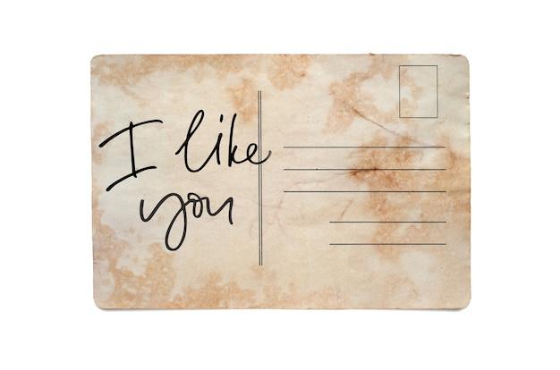 Je vous aime bien. lettrage sur une carte postale vintage. isolé sur blanc.