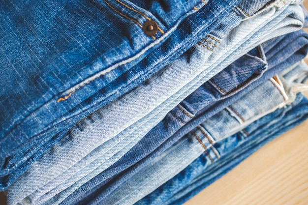 Jean bleu jeans pile texture fond gros plan