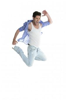 Jeans de mode denim homme sautant sur blanc